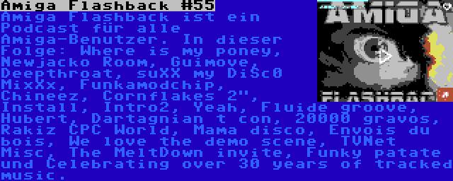 Amiga Flashback #55 | Amiga Flashback ist ein Podcast für alle Amiga-Benutzer. In dieser Folge: Where is my poney, Newjacko Room, Guimove, Deepthroat, suXX my DiSc0 MixXx, Funkamodchip, Chineez, Cornflakes 2, Install, Intro2, Yeah, Fluide groove, Hubert, Dartagnian t con, 20000 gravos, Rakiz CPC World, Mama disco, Envois du bois, We love the demo scene, TVNet Misc, The MeltDown invite, Funky patate und Celebrating over 30 years of tracked music.