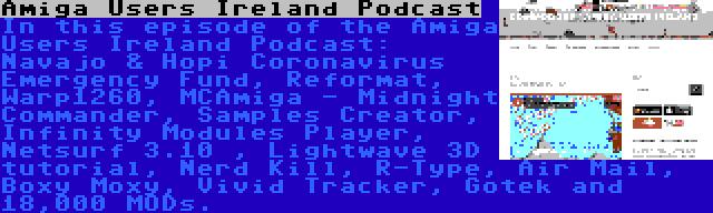 Amiga Users Ireland Podcast | In this episode of the Amiga Users Ireland Podcast: Navajo & Hopi Coronavirus Emergency Fund, Reformat, Warp1260, MCAmiga - Midnight Commander, Samples Creator, Infinity Modules Player, Netsurf 3.10 , Lightwave 3D tutorial, Nerd Kill, R-Type, Air Mail, Boxy Moxy, Vivid Tracker, Gotek and 18,000 MODs.