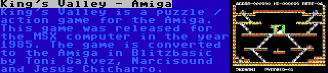 King's Valley - Amiga | King's Valley is a puzzle / action game for the Amiga. This game was released for the MSX computer in the year 1985. The game is converted to the Amiga in Blitzbasic by Toni Galvez, Narcisound and Jesús Chicharro.