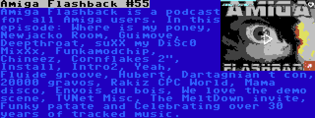 Amiga Flashback #55 | Amiga Flashback is a podcast for all Amiga users. In this episode: Where is my poney, Newjacko Room, Guimove, Deepthroat, suXX my DiSc0 MixXx, Funkamodchip, Chineez, Cornflakes 2, Install, Intro2, Yeah, Fluide groove, Hubert, Dartagnian t con, 20000 gravos, Rakiz CPC World, Mama disco, Envois du bois, We love the demo scene, TVNet Misc, The MeltDown invite, Funky patate and Celebrating over 30 years of tracked music.